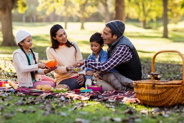 Familie ontspannen in het park