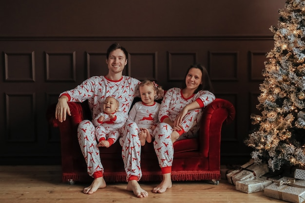 Familie op de kerst