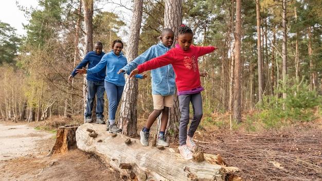 Familie plezier op een omgevallen boom