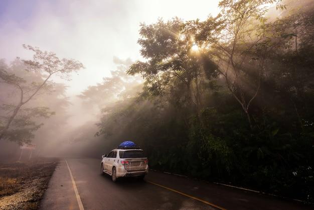 Familie roadtrip per suv-auto