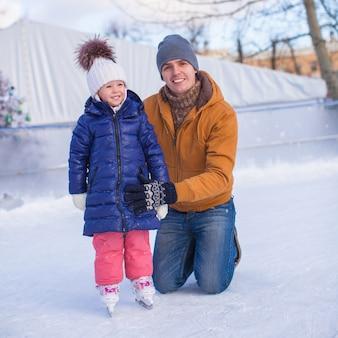 Familie vakantie op ijsbaan