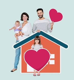 Familie van vier in een liefdevol huis