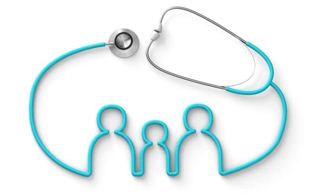 Familie vormige stethoscoop medische familie verzekering geïsoleerd op witte achtergrond 3d render