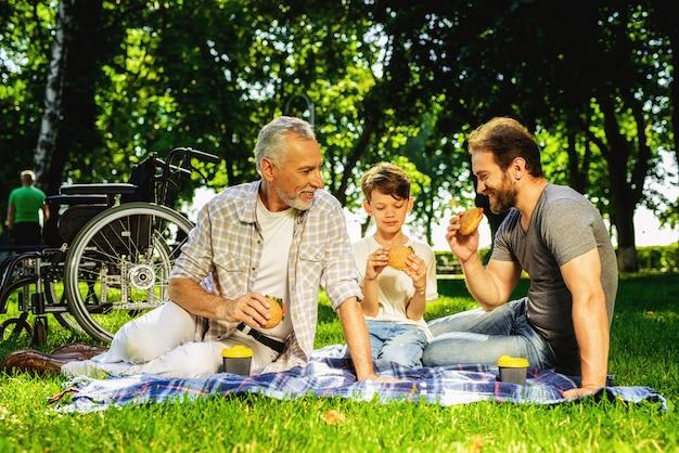 Familiebijeenkomst in park familieleden picnic hebben