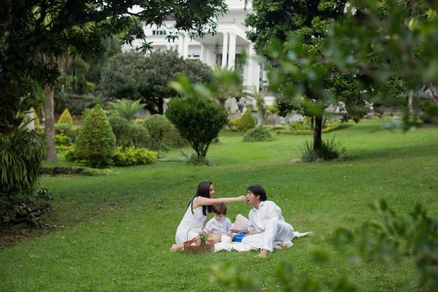 Familiepicknick dichtbij het huis over de aard