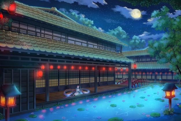 Fantasie traditioneel japans huis - nacht.