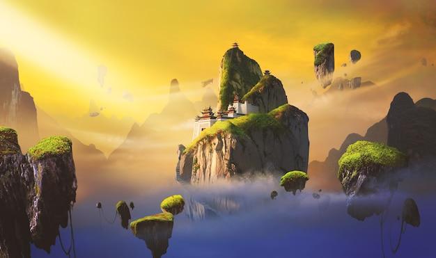 Fantasiescènes in chinese stijl.