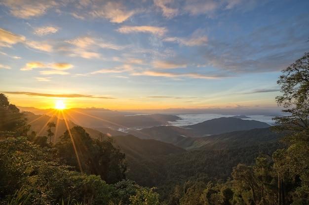 Fantastisch de berglandschap van de ochtendzonsopgang, landschap van hoge groene bergen