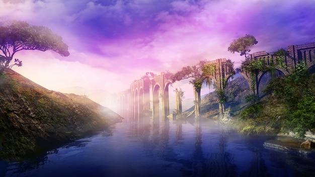 Fantastisch landschap met oud aquaduct en rivier d render