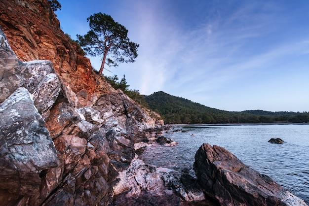 Fantastisch uitzicht op de rotsachtige kust en golven