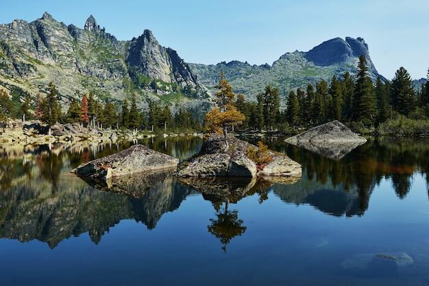 Fantastische bergen en meren, reizen en wandelen, weelderig groen en bloemen rondom. ontdooid bronwater uit de bergen