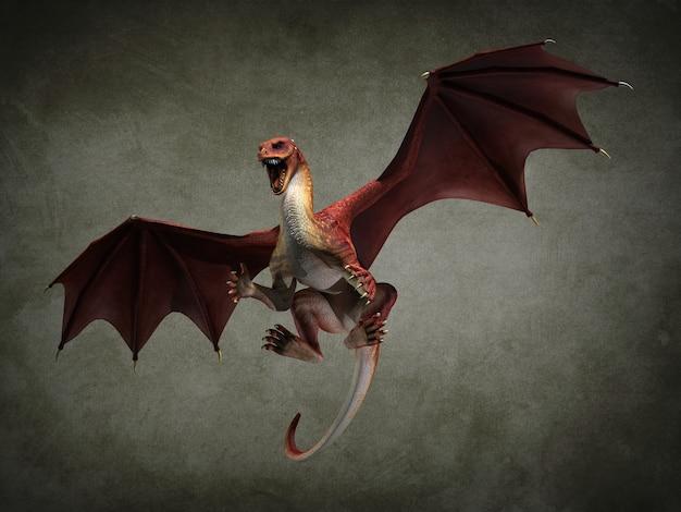 Fantastische vliegende draak. 3d illustratie