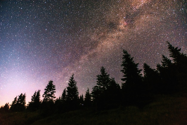 Fantastische winter meteorenregen en de met sneeuw bedekte bergen