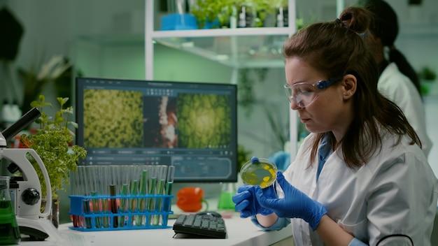 Farmaceutische onderzoeker die de oplossingstest van een petrischaal analyseert