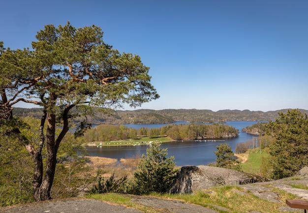 Farrisvannet, het farris-meer in larvik, noorwegen