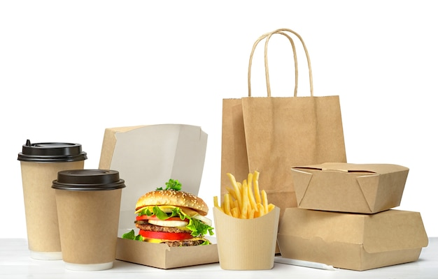 Fast food grote lunch set geïsoleerd op wit