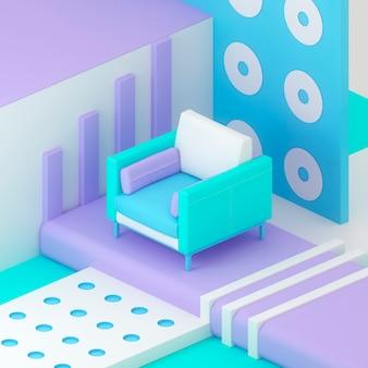 Fauteuil 3d isometrische illustratie maken