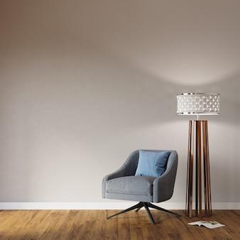 Fauteuil en lamp in de kamer, 3d render, frame mockup