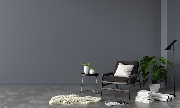 Fauteuil in zwarte woonkamer met kopieerruimte
