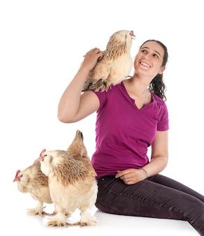 Faverolles kip en vrouw