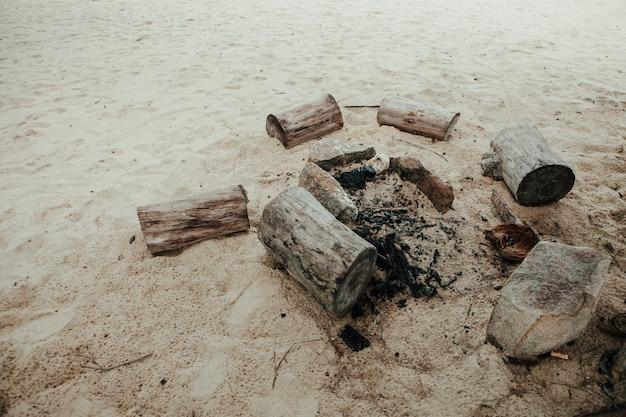 Feest bij het vuur op het strand