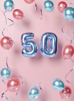 Feestelijk 50ste verjaardagsarrangement met ballonnen