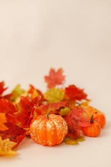 Feestelijk herfstdecor met pompoenen en bladeren op een beige ondergrond