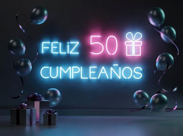 Feestelijk neon 50ste verjaardagsarrangement