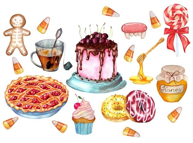Feestelijk snoeppakket cherry draf kersentaart donuts peperkoek lolly caramels honing