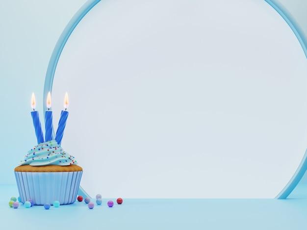 Feestelijke cupcake met blauw glazuur en drie kaarsen en rond frame met lege ruimte voor tekst op blauwe achtergrond. 3d-rendering. verjaardag wenskaart.