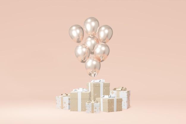 Feestelijke geschenkdoos presentatie, ballon beige achtergrond. reclame winkelverkoop. concept zwarte vrijdag, kerstmis, nieuwjaar. 3d-weergave