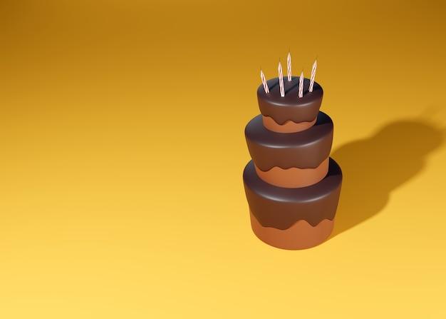 Feestelijke kaarsen versieren de bovenkant van de taart