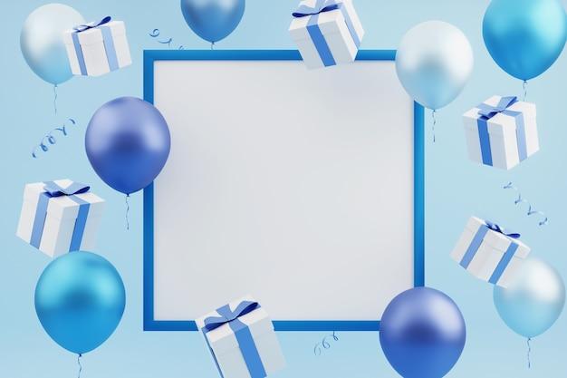 Feestelijke kaart met vliegende geschenken en kleurrijke ballonnen rond leeg blauw frame op blauwe achtergrond. 3d-rendering. lege sjabloon, mockup, vakantie of feest achtergrond.