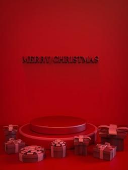Feestelijke kerst abstracte rood-wit-rode toon ronde podium lege stand 3d render