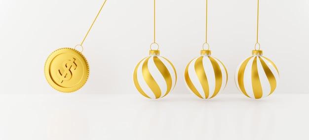 Feestelijke kerstbal met 3d-gouden munten. balancerende ballen.