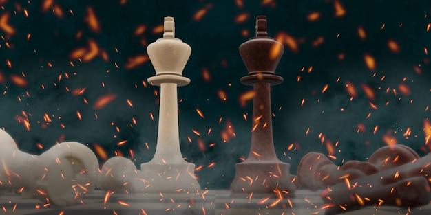 Felle slag om schaakbordspellen 3d illustratie