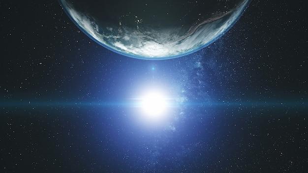 Felle zon op roterende aarde met blauwe halo en witte wolken.