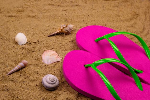 Felroze slippers en schelpen op het strand