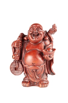 Feng shui budai boeddhabeeldje, pu-tai of happy laughing hotei voor geld en rijkdom op een witte achtergrond