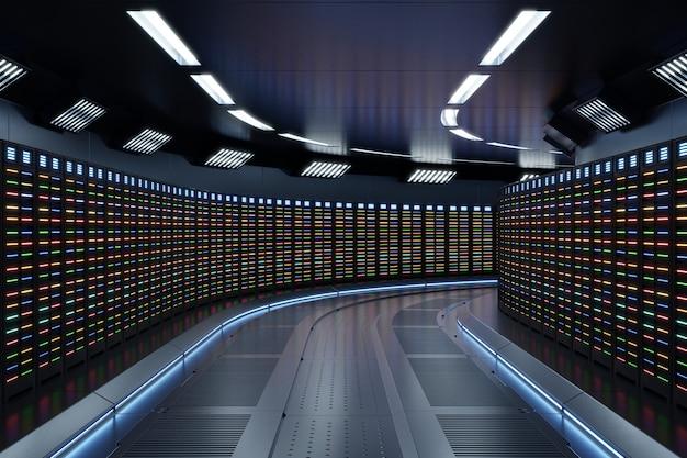 Fictie interieurweergave sci-fi ruimteschip gangen blauw licht, server room network met meerdere kleuren verlichting.