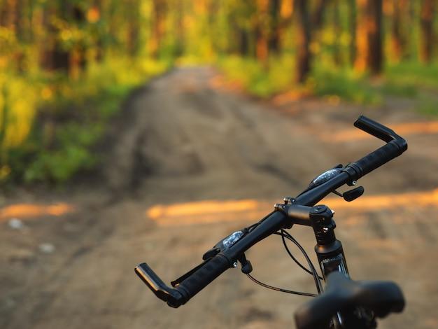 Fietsstuur close-up. reis op de bosweg in de zomer. levensstijl