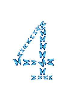 Figuur vier van blauwe tropische vlinders geïsoleerd op een witte achtergrond