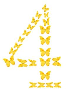 Figuur vier van gele tropische vlinders geïsoleerd op een witte achtergrond