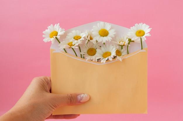 Fijne ansichtkaart, een envelop met witte madeliefjes in een meisjeshand op een zacht roze achtergrond