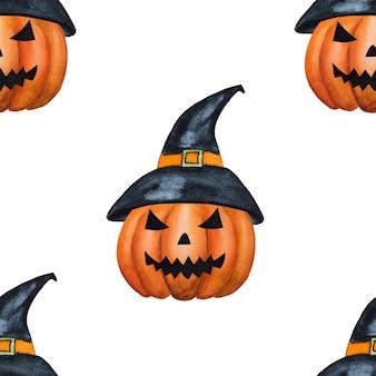 Fijne halloween. prachtige aquareltekening van een boze pompoen