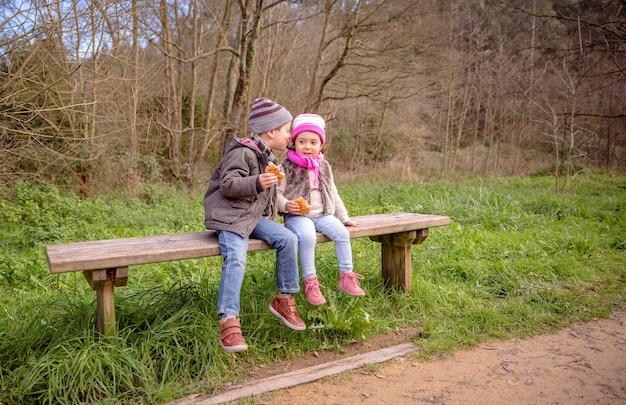 Fijne schattige jongen die met het oor van een klein meisje praat terwijl hij muffins eet met chocoladeschilfers zittend op een houten bankje in het park