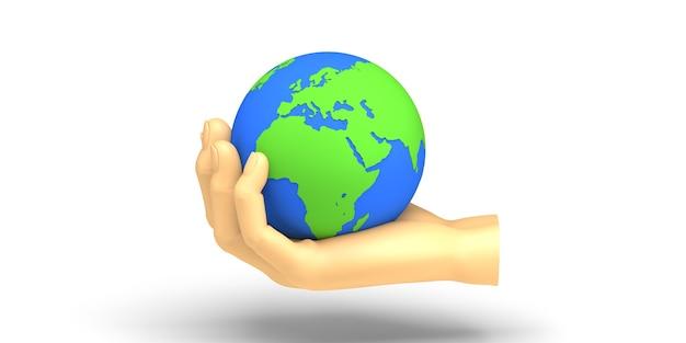 Filantropie spandoek. hand die de wereldbal houdt. liefdadigheid. 3d illustratie.