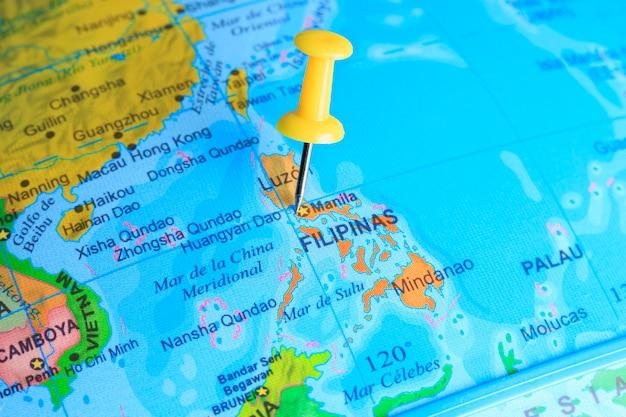 Filipijnen gevestigd op een kaart van azië