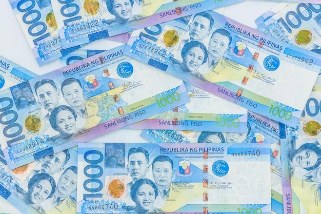 Filippijnse 1000 peso-rekening, filippijnse geldvaluta, filippijnse geldrekeningen.