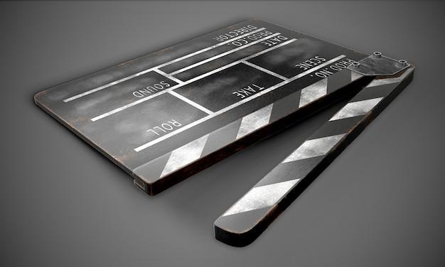 Filmklapper op zwarte close-up. 3d-weergave.